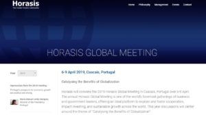 Speaking at the Horasis Global Meeting 6- 9 April, 2019, Cascais, Portugal @ Palacio Hotel, Estoril Congress Centre,